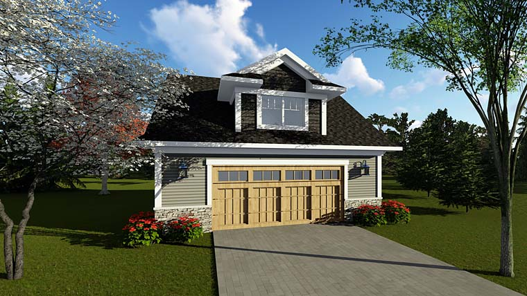 Cottage, Country, Craftsman 2 Car Garage Plan 75251 Elevation
