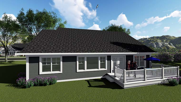 Country Craftsman House Plan 75255 Rear Elevation