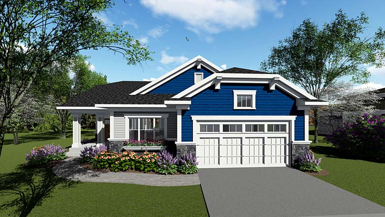 House Plan 75257 | Cottage Country Craftsman Style Plan with 1827 Sq Ft, 2 Bedrooms, 2 Bathrooms, 2 Car Garage Elevation