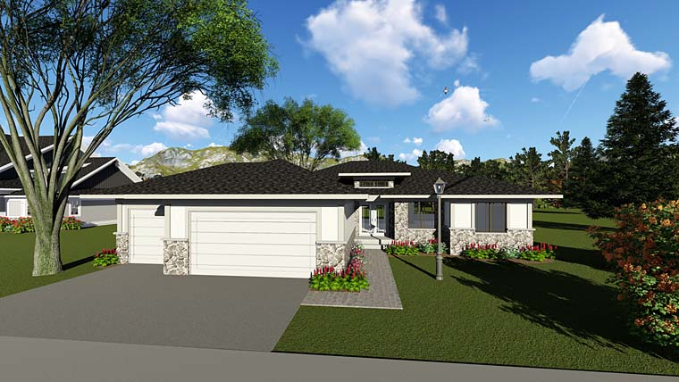 Contemporary , Ranch , Southwest House Plan 75258 with 2 Beds, 2 Baths, 3 Car Garage Elevation