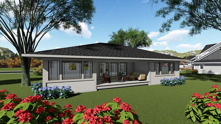 Contemporary , Ranch , Southwest House Plan 75258 with 2 Beds, 2 Baths, 3 Car Garage Rear Elevation