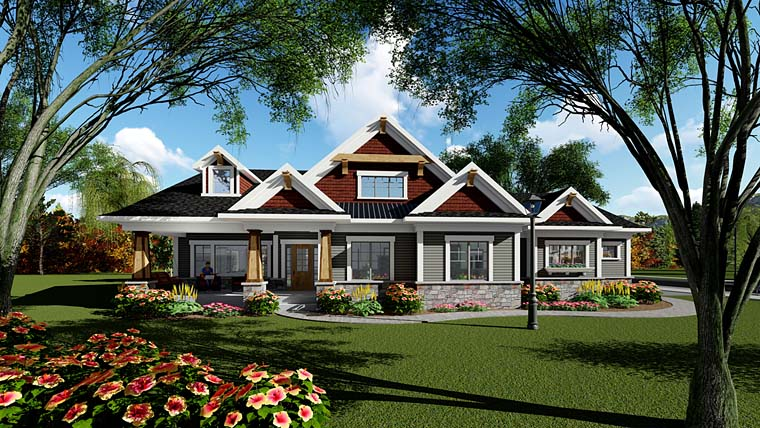 Cottage Country Craftsman House Plan 75259 Elevation