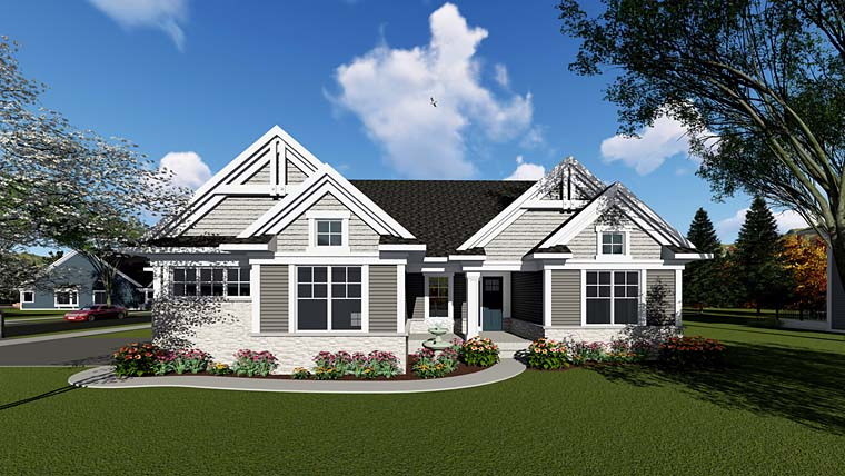Cottage Craftsman Southern Traditional House Plan 75261 Elevation