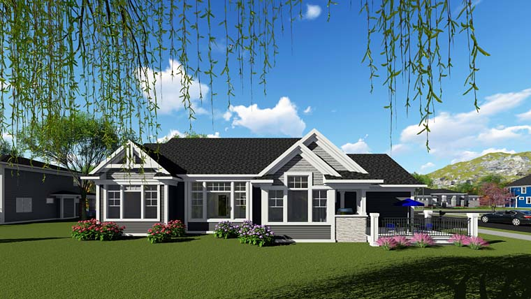 Cottage Craftsman Southern Traditional House Plan 75261 Rear Elevation