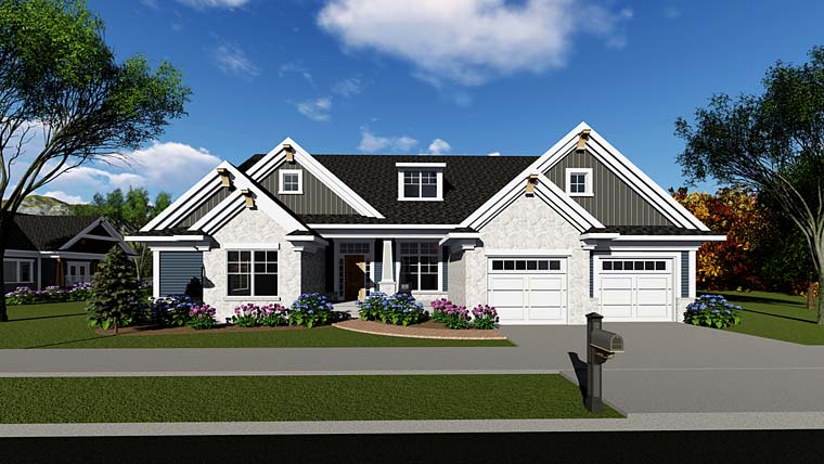 Country Craftsman Ranch Traditional House Plan 75262 Elevation