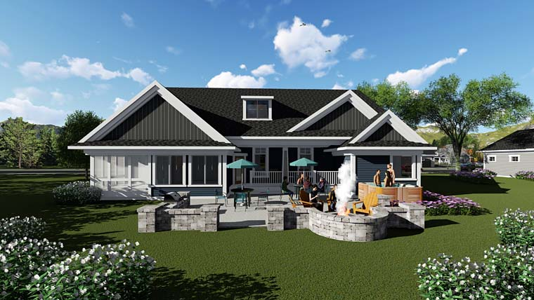 Country Craftsman Ranch Traditional House Plan 75262 Rear Elevation