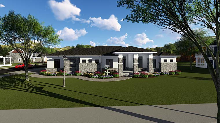 Contemporary , Southwest House Plan 75263 with 2 Beds, 3 Baths, 3 Car Garage Elevation