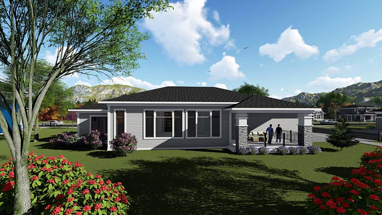 Contemporary , Southwest House Plan 75263 with 2 Beds, 3 Baths, 3 Car Garage Rear Elevation
