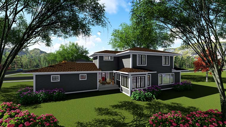 House Plan 75272 with 4 Beds, 3 Baths, 2 Car Garage Rear Elevation