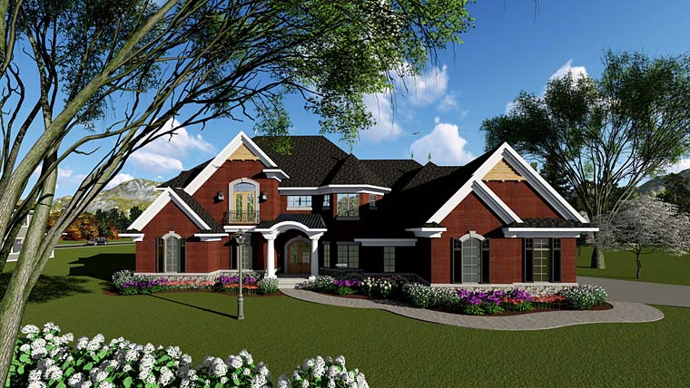 House Plan 75275 | European, Southern, Traditional Style House Plan with 4794 Sq Ft, 4 Bed, 4 Bath, 3 Car Garage Elevation