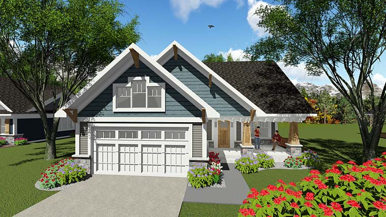 Bungalow , Cottage , Craftsman , Southern , Traditional , Elevation of Plan 75277