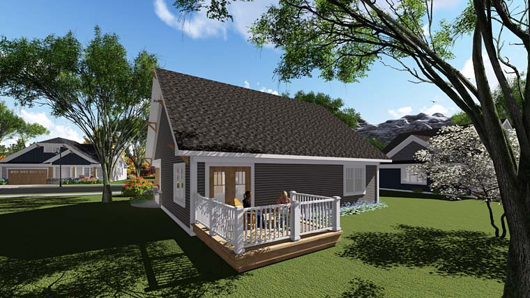 Bungalow , Cottage , Craftsman , Southern , Traditional , Rear Elevation of Plan 75277