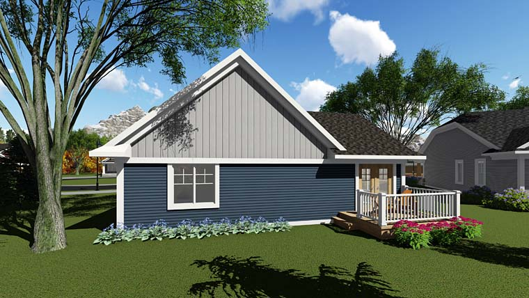 Cottage , Country , Craftsman , Rear Elevation of Plan 75278
