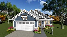 Cottage , Country , Craftsman House Plan 75279 with 3 Beds, 1 Baths, 2 Car Garage Elevation