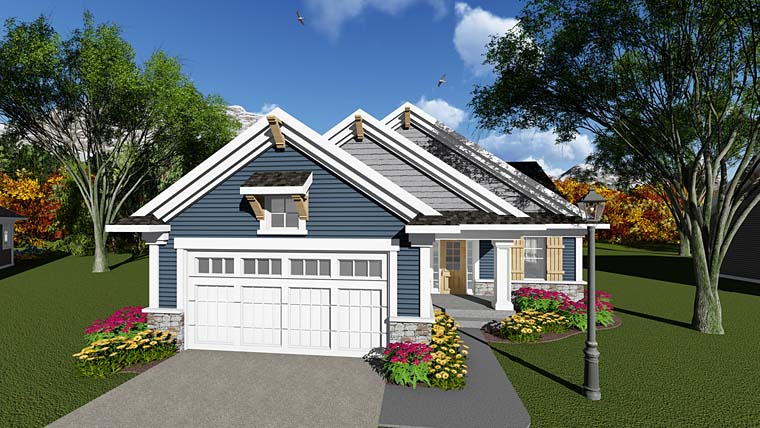 Cottage, Country, Craftsman House Plan 75279 with 3 Beds, 1 Baths, 2 Car Garage Elevation
