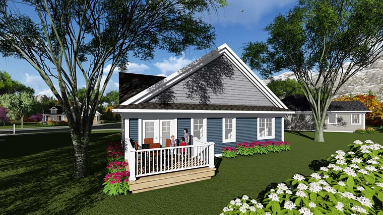 Cottage, Country, Craftsman House Plan 75279 with 3 Beds, 1 Baths, 2 Car Garage Rear Elevation