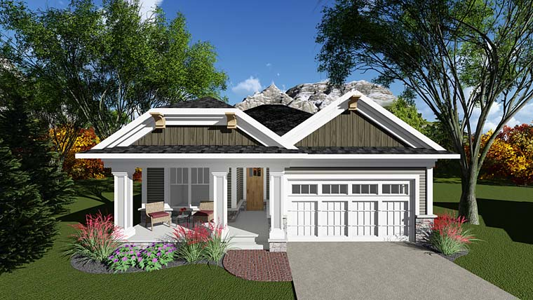 Cottage Country Craftsman Southern Elevation of Plan 75280
