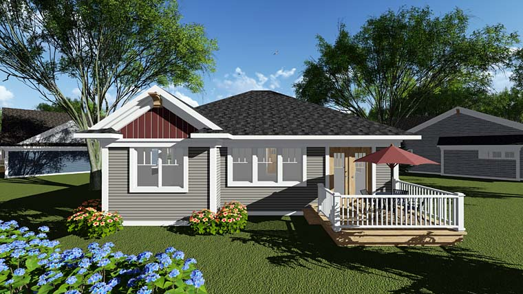 Cottage Country Craftsman Southern Rear Elevation of Plan 75280