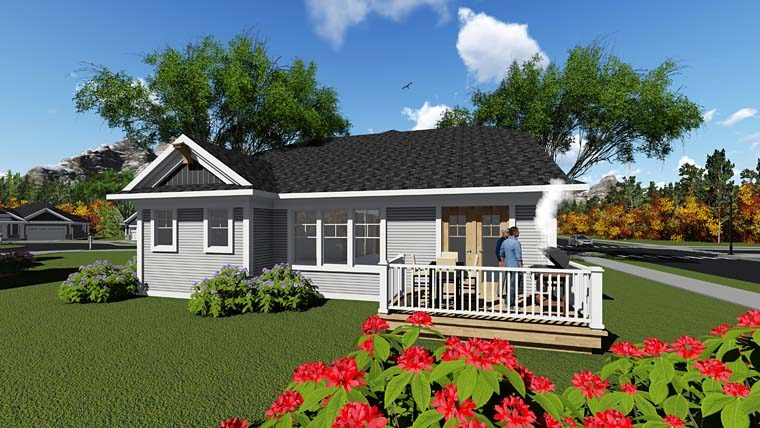 Cottage Country Craftsman House Plan 75285 Rear Elevation