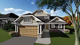Cottage , Craftsman House Plan 75286 with 3 Beds, 2 Baths, 2 Car Garage Elevation