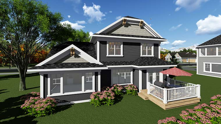Cottage Craftsman House Plan 75286 Rear Elevation