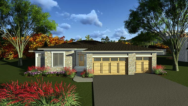 Contemporary , Ranch , Southwest House Plan 75287 with 3 Beds, 3 Baths, 3 Car Garage Elevation