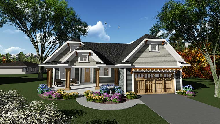 Cottage, Country, Craftsman House Plan 75288 with 3 Beds, 2 Baths, 2 Car Garage Elevation