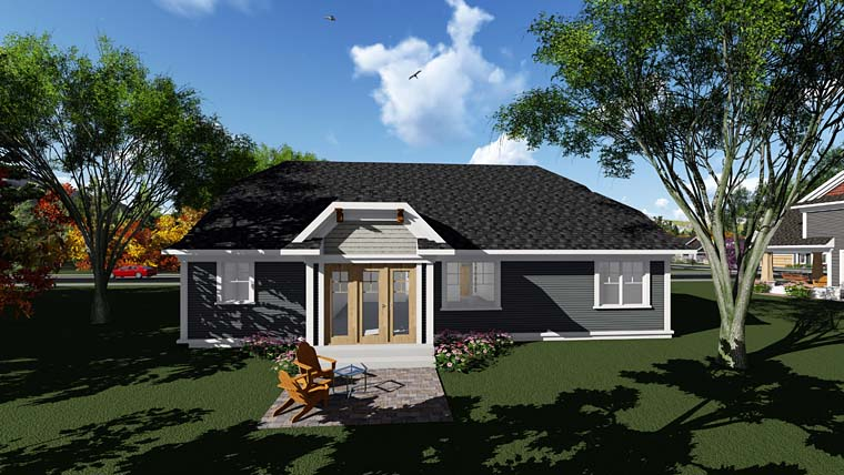 Cottage, Country, Craftsman House Plan 75288 with 3 Beds, 2 Baths, 2 Car Garage Rear Elevation