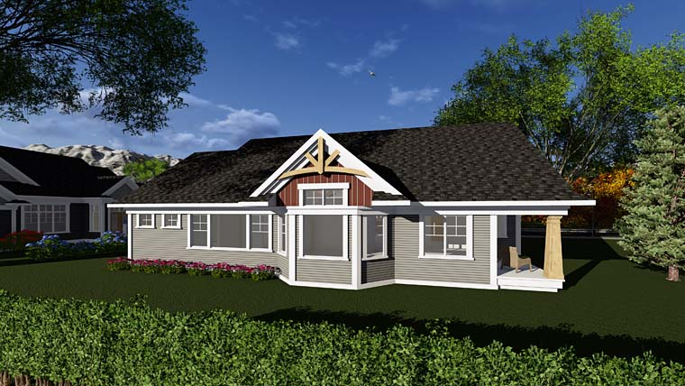 Bungalow Cottage Country Craftsman Traditional House Plan 75290 Rear Elevation