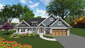 Cottage , Country , Craftsman , Southern House Plan 75292 with 2 Beds, 3 Baths, 3 Car Garage Elevation