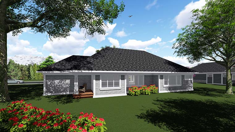 Cottage Country Craftsman Southern House Plan 75292 Rear Elevation
