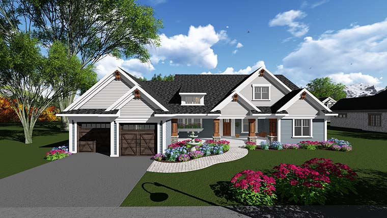 Country Craftsman Traditional House Plan 75294 Elevation