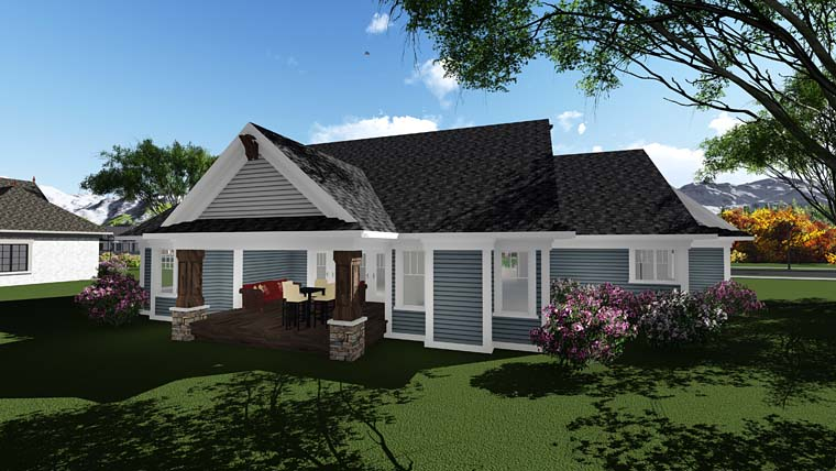 Country Craftsman Traditional House Plan 75294 Rear Elevation