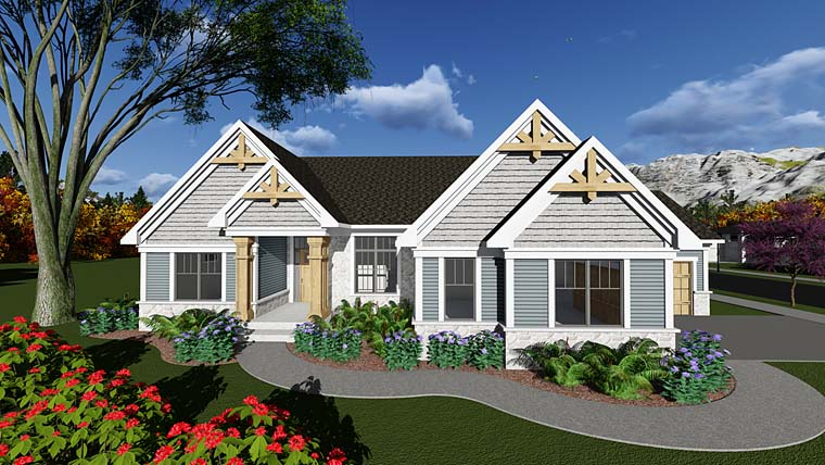 Traditional , Craftsman , Country , Cottage House Plan 75295 with 3 Beds, 3 Baths, 4 Car Garage Elevation