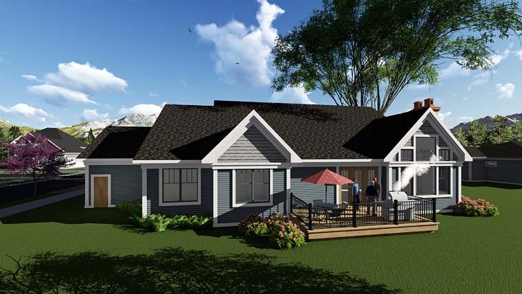Traditional , Craftsman , Country , Cottage House Plan 75295 with 3 Beds, 3 Baths, 4 Car Garage Rear Elevation