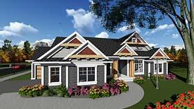 Bungalow , Cottage , Craftsman House Plan 75296 with 4 Beds, 2 Baths, 3 Car Garage Elevation