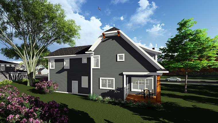 Bungalow Cottage Country Craftsman House Plan 75297 Rear Elevation