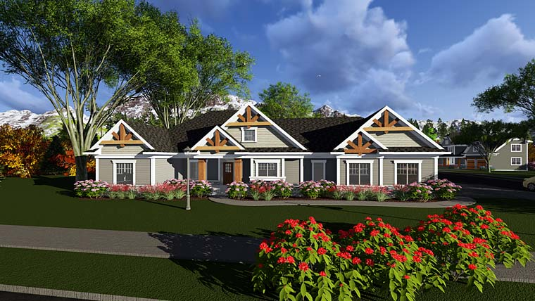 Craftsman , Southern , Traditional , Tudor House Plan 75298 with 2 Beds, 3 Baths, 3 Car Garage Elevation