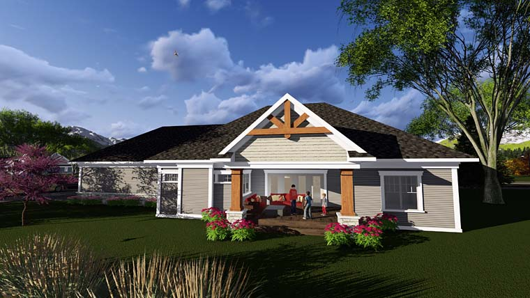 Craftsman , Southern , Traditional , Tudor House Plan 75298 with 2 Beds, 3 Baths, 3 Car Garage Rear Elevation