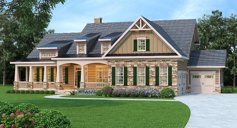Bungalow Cottage Country Craftsman House Plan 75301 Elevation
