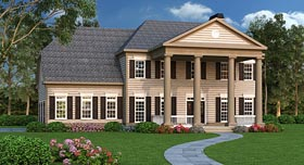 House Plan 75302 | Colonial Southern Style Plan with 3995 Sq Ft, 5 Bedrooms, 4 Bathrooms, 3 Car Garage Elevation
