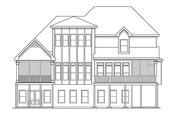 Southern Traditional House Plan 75303 Rear Elevation