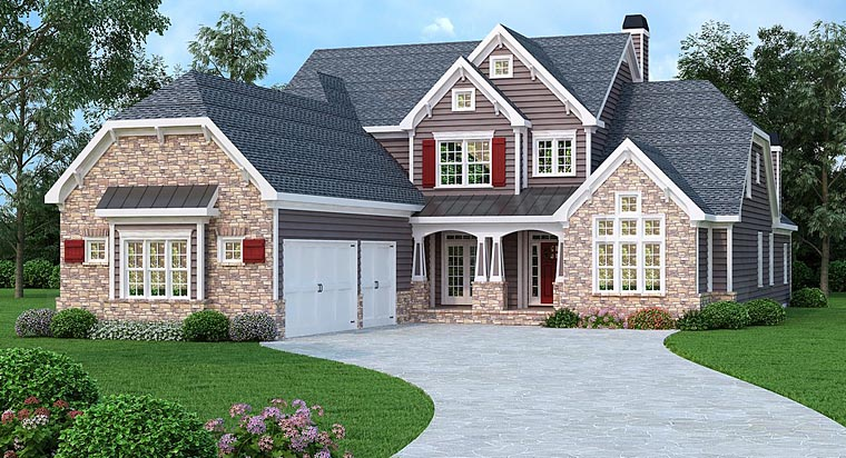 Craftsman, Traditional House Plan 75308 with 5 Beds, 6 Baths, 3 Car Garage Elevation