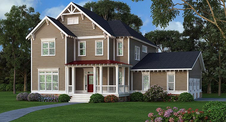 Country, Craftsman, Traditional House Plan 75309 with 4 Beds, 3 Baths, 3 Car Garage Front Elevation