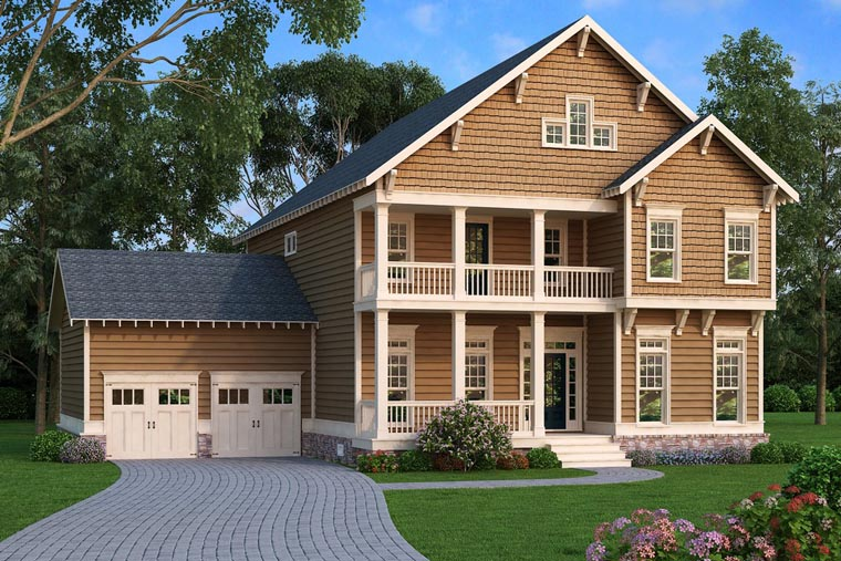 Coastal, Colonial, Craftsman, Southern House Plan 75310 with 4 Beds , 3 Baths , 2 Car Garage Elevation