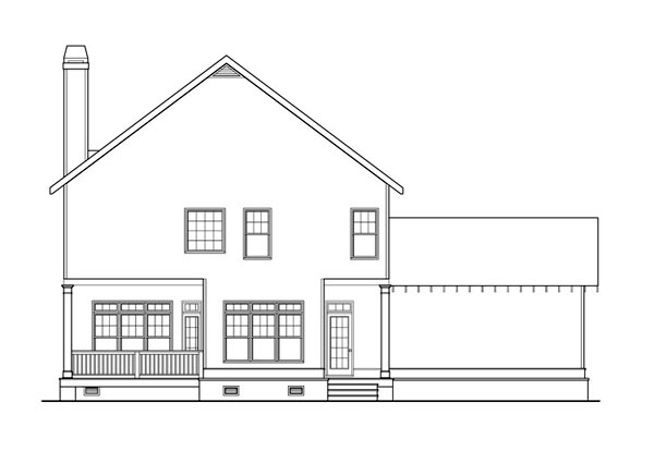 Coastal, Colonial, Craftsman, Southern House Plan 75310 with 4 Beds , 3 Baths , 2 Car Garage Rear Elevation