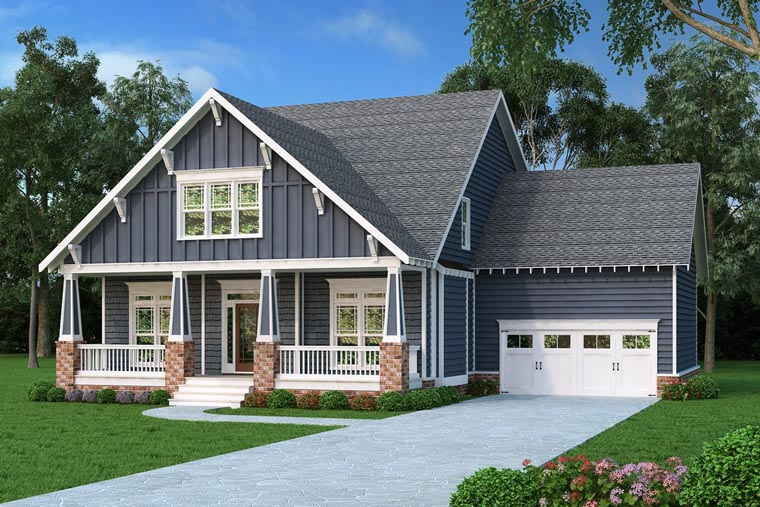Bungalow, Country, Craftsman, Southern House Plan 75313 with 4 Beds, 3 Baths, 2 Car Garage Front Elevation