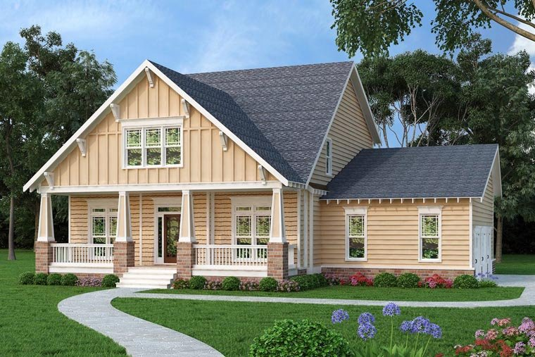 Bungalow Country Craftsman House Plan 75315 Elevation