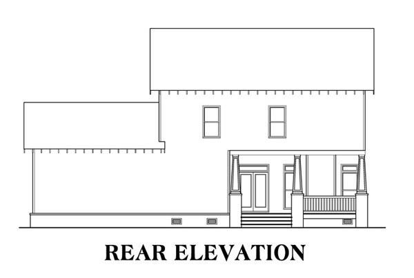 Bungalow Country Craftsman House Plan 75315 Rear Elevation