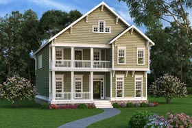 Coastal Craftsman Southern House Plan 75316 Elevation